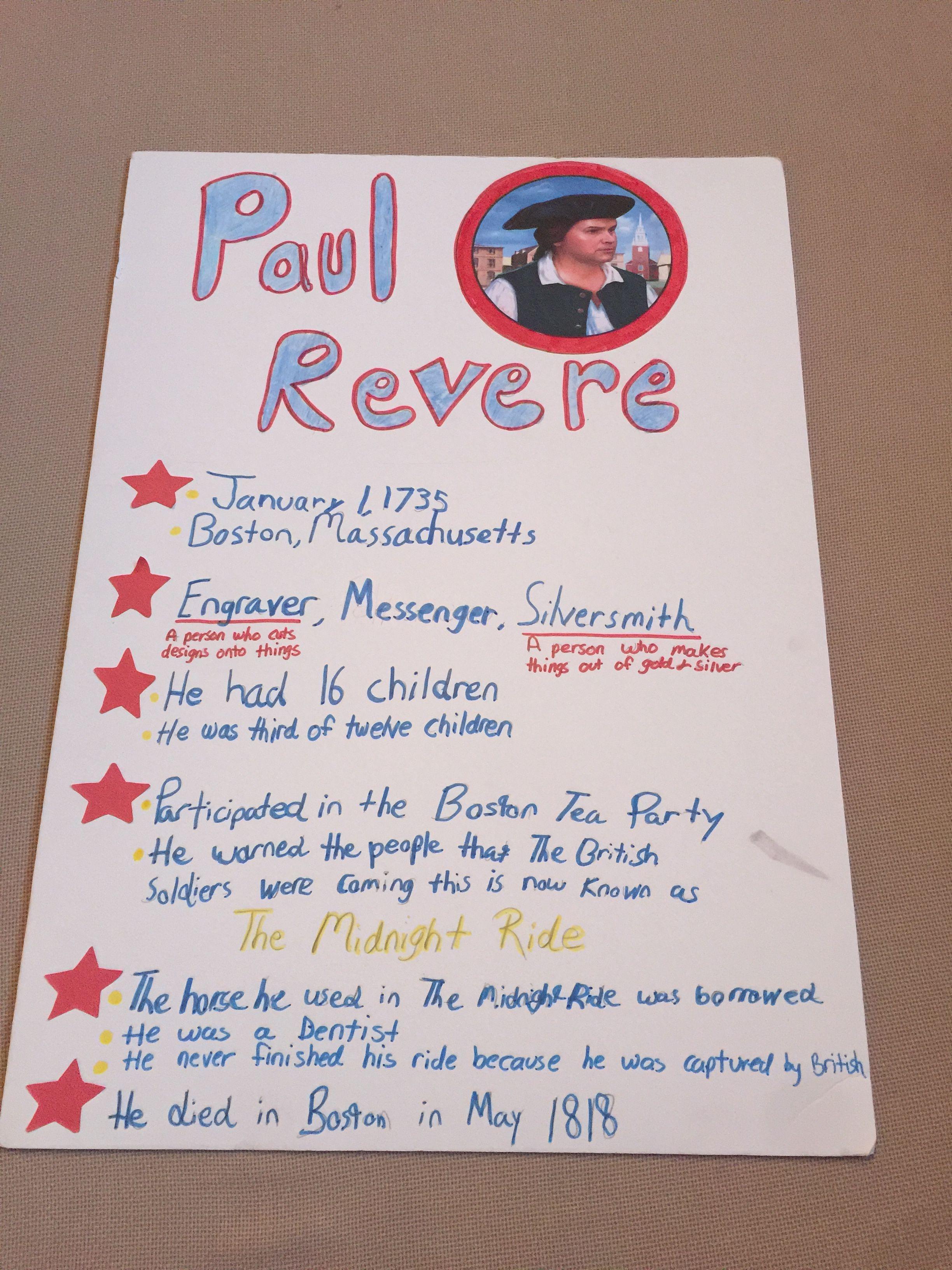 Monica S 2nd Grade Paul Revere Final Project Paul Revere School Projects 5th Grade Social Studies