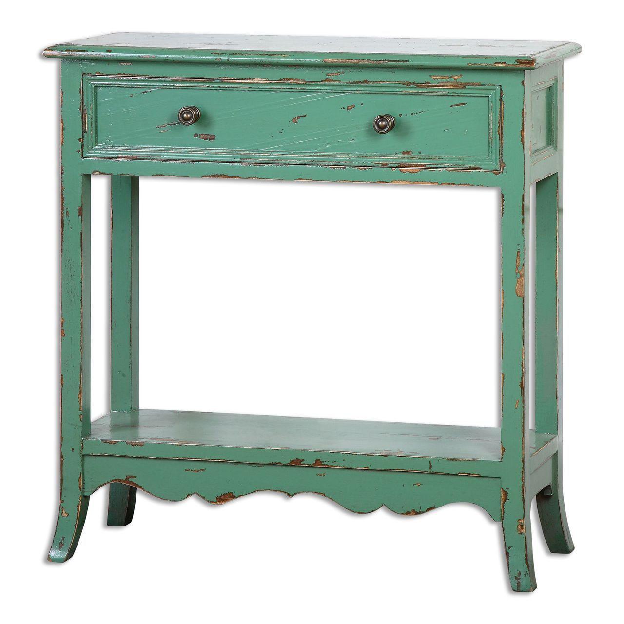 Vibrant Aqua Accent Table | Coastal Decorating | Home ...