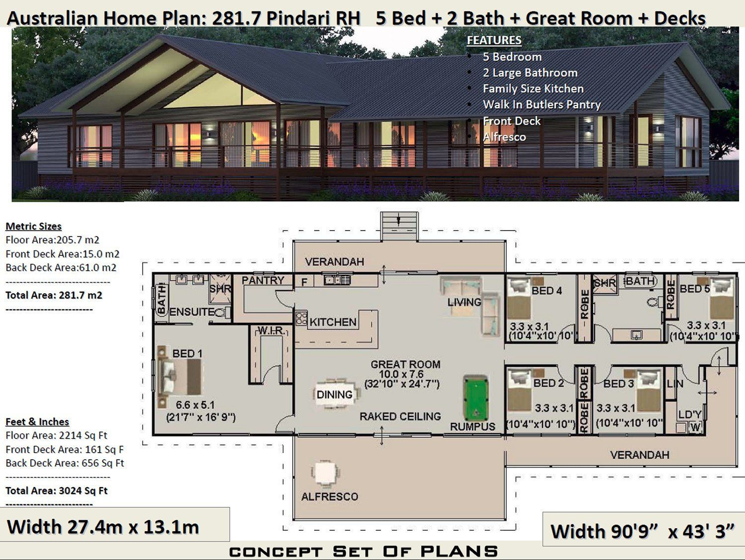 281 M2 3024 Sq Foot 5 Bedroom House Plan 281 7 Pindari Etsy House Plans Australia Country Style House Plans House Plans For Sale