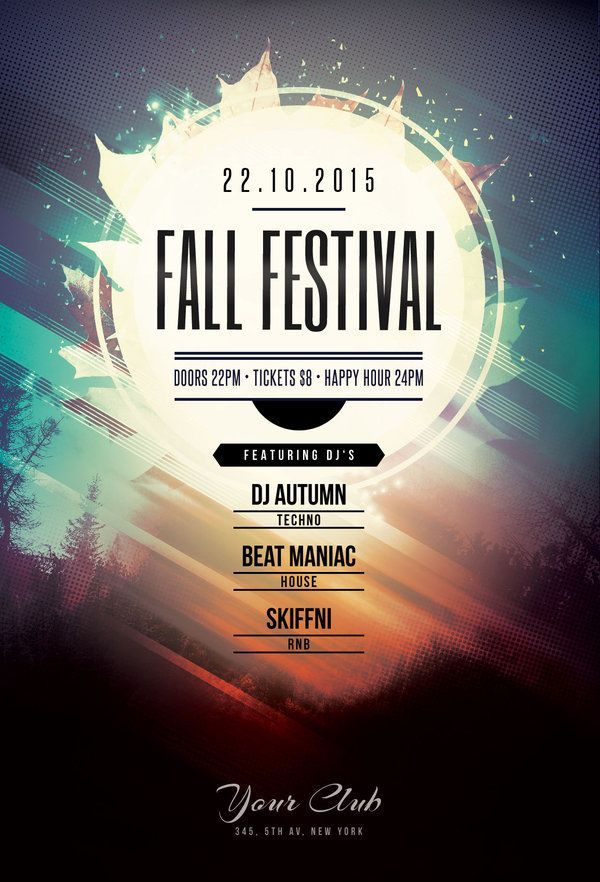 Fall festival flyer by stylewish buy psd file 9 design poster graphic festival for Flyers ideas for events