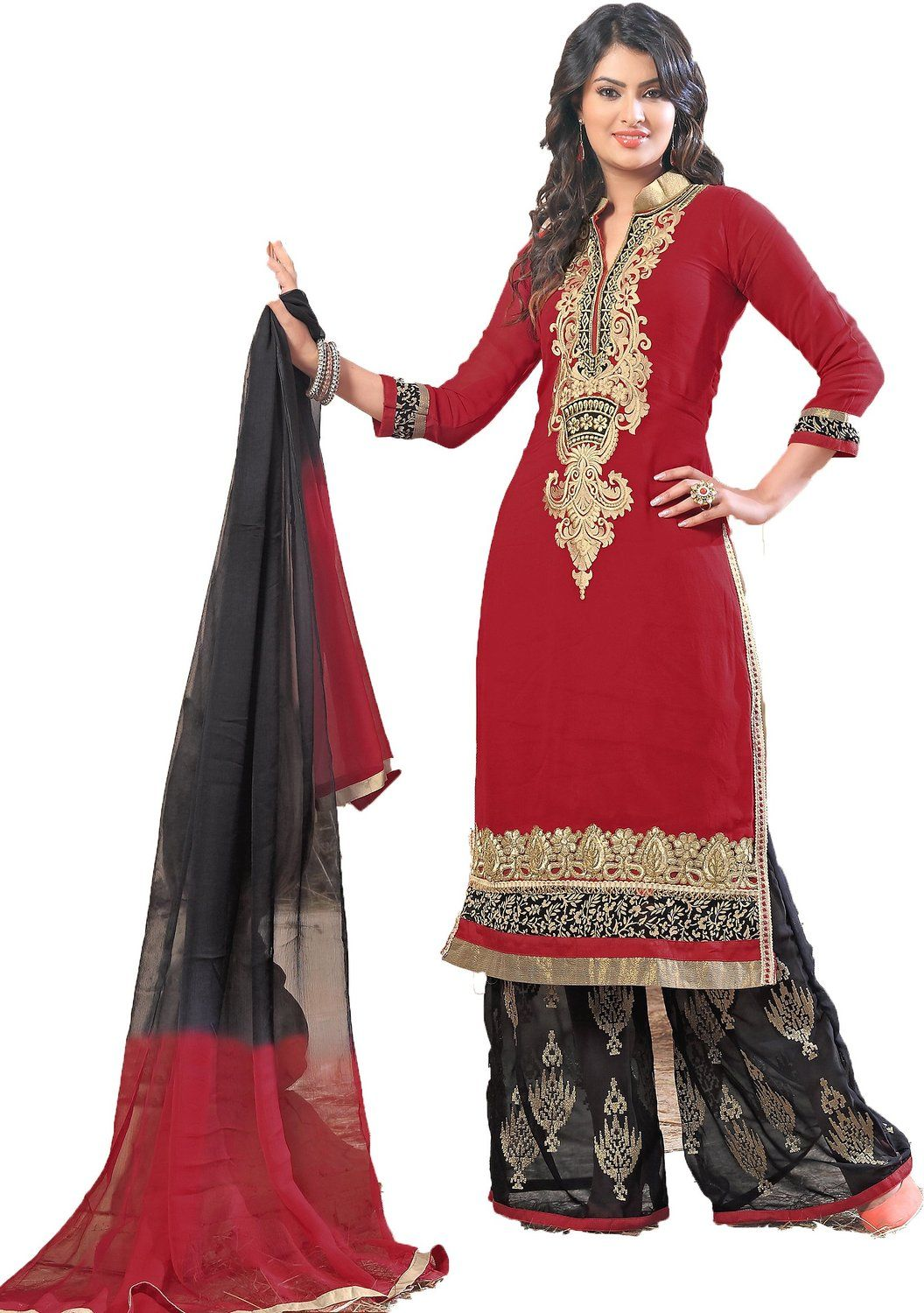 c382cb462a chakudee by red georgette drees material: Amazon.in: Clothing &  Accessories,Designer