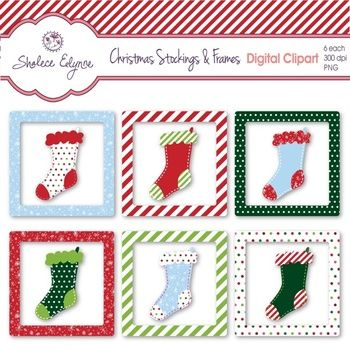 Christmas Digital Clipart: 6 Stockings and 6 Holiday FramesInstant Download: 1 zip folder with