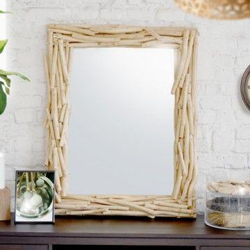 Le miroir river de tikamoon est un miroir en bois de teck for Achat miroir bois flotte