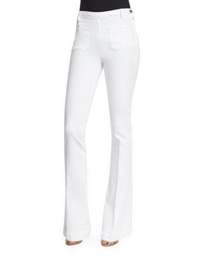FRAME DENIM Frame Denim Le High Patch-Pocket Flare-Leg Jeans, Blanc. #framedenim #cloth #