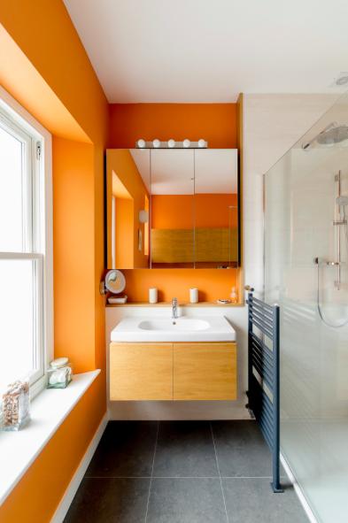Orange Bathroom Via Rowe Spurling Paint Company