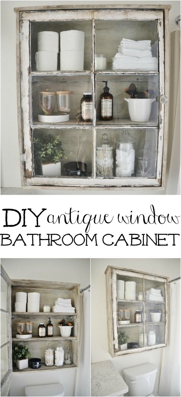 Window shelf decor  diy bathroom cabinet  antique windows bathroom storage and super easy