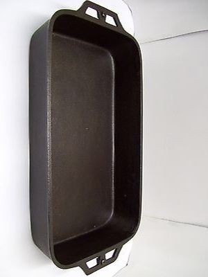 LARGE RECTANGLE CAST IRON PAN FISH COOKER CLEANED AND