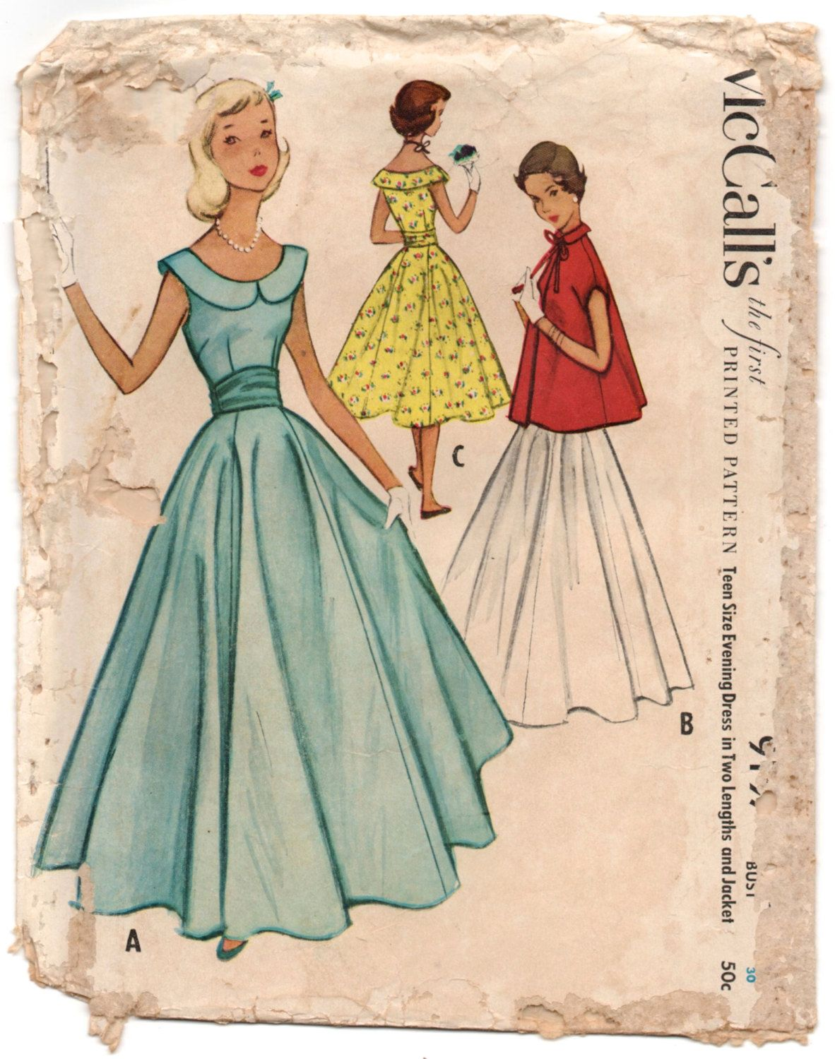 "1950'sMcCall's Prom or Homecoming Floor or Tea length Dress Pattern with scoop neck and jacket - Bust 30"" - No. 9197 by backroomfinds on Etsy"