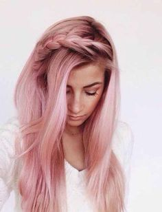 Light Pink Hair color long hair