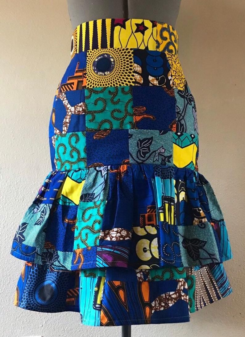 African Wax Print Patchwork Ruffled Pencil Skirt High Waist 100% Cotton Lined Uou Choose Colors