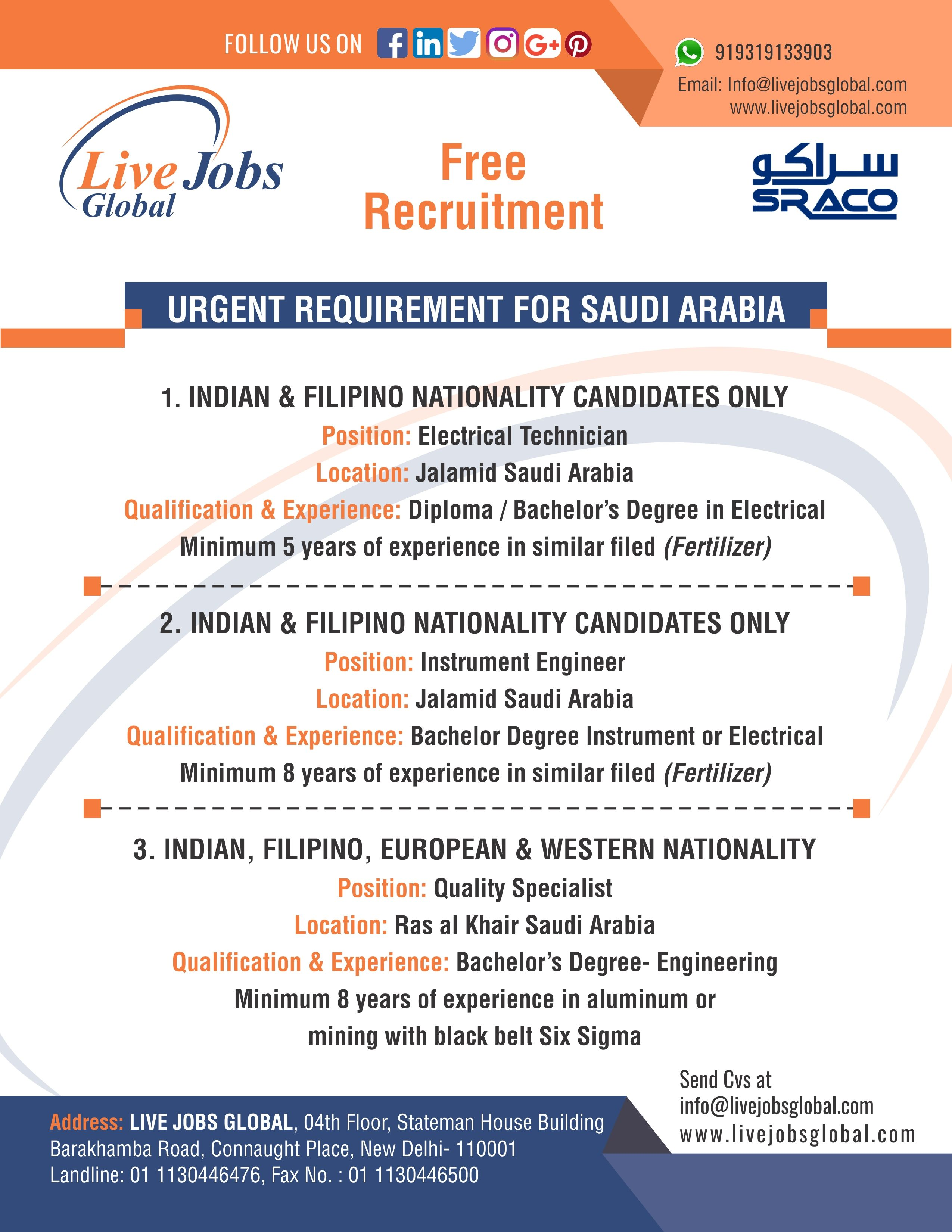 Urgent Requirement For Saudi Arabia Location Interested Candidates Can Apply Who Have Indian Filipin Recruitment Agencies Recruitment Recruitment Services