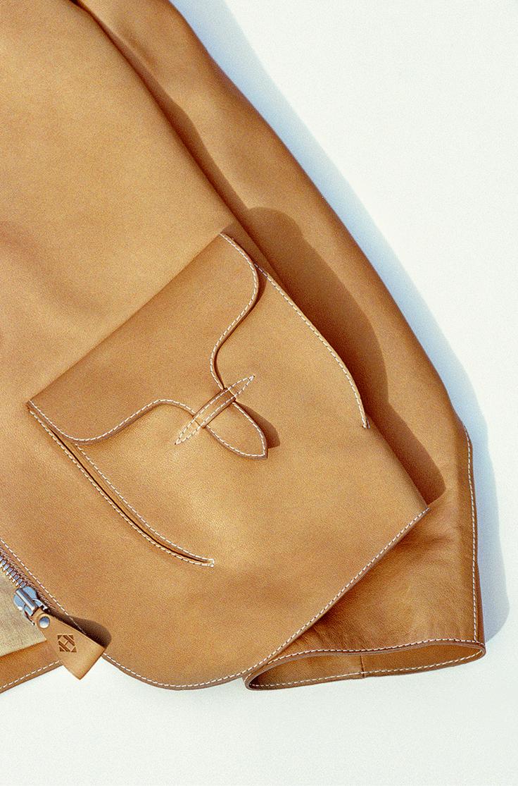 Hermès - Vestiaire d'Été 2014. Jacket with bellow pockets in natural Barénia calfskin. #hermes #womenswear #fashion
