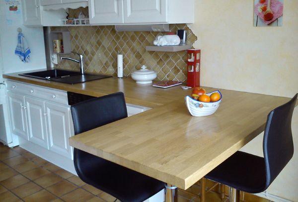 Rénovation de cuisine avec plans de travail en bois de chêne - Par - Table De Cuisine Avec Plan De Travail