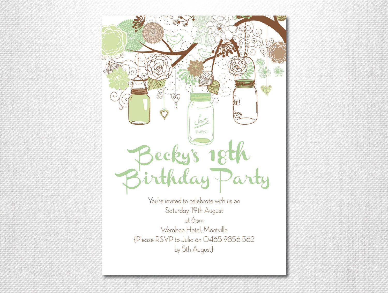 leaf green invite mason jar invite garden party hanging jars