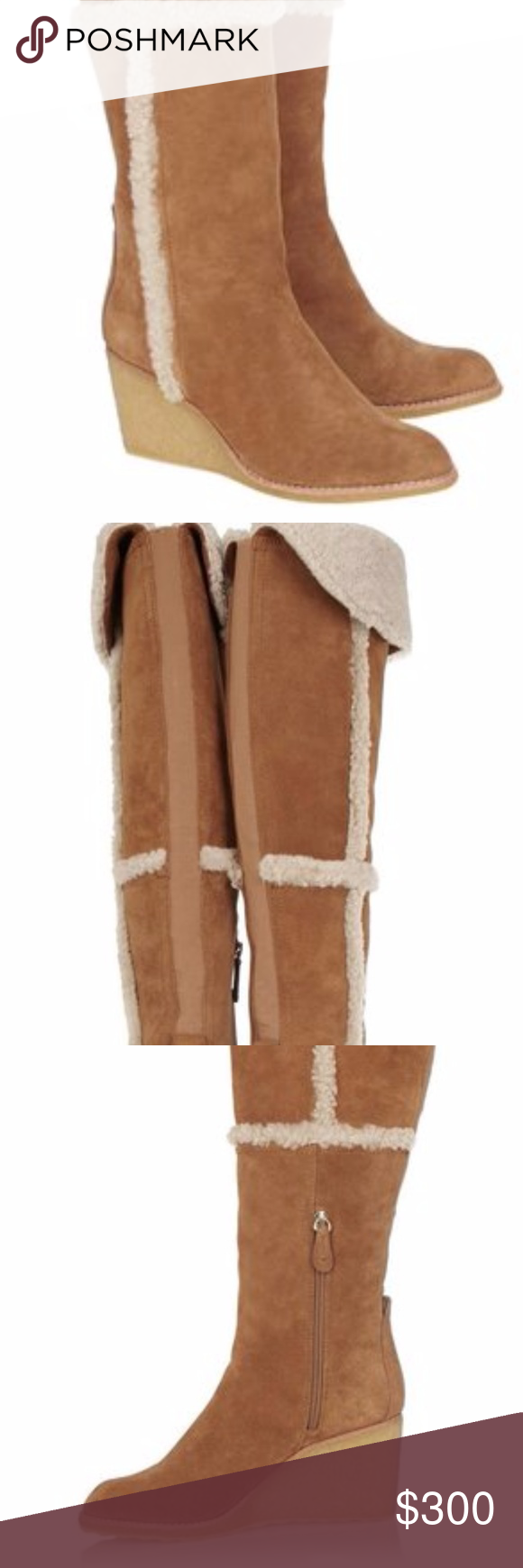 ed23bf1c56768 Tory Burch Cassius Shearling Over The Knee Boots 9 New without box New TORY  BURCH  Cassius  Shearling Lined Over-the-Knee Wedge Boots Size 9 New  Without Box ...