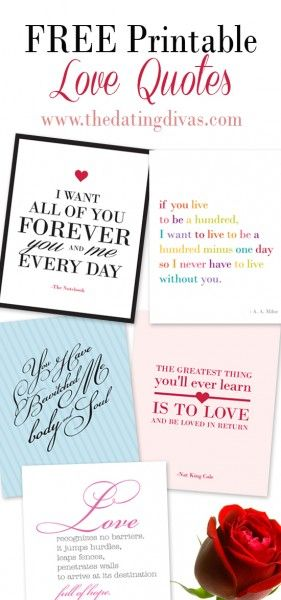 Top 10 Love Quotes, free printables