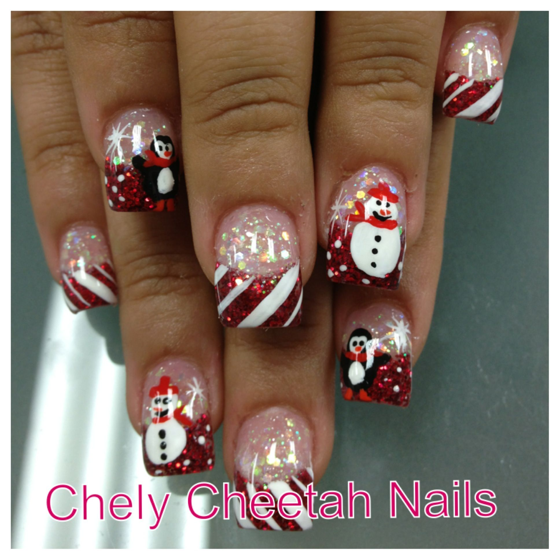 Chely Cheetah Nails. Acrylic nails. Rockstar Christmas nail art ...