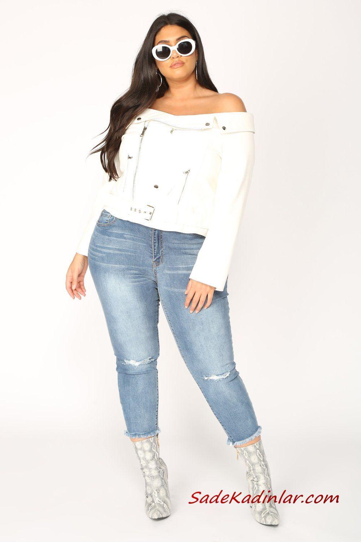 Buyuk Beden Bayan Spor Kombinler Mavi Kot Pantolon Beyaz Straplez Uzun Kol Bluz Gri Topuklu Bot Pantolon Moda Bluz