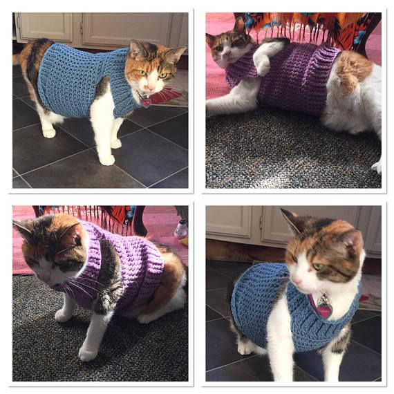 Cat Clothes, Cat Sweater, Crochet Cat Sweater, Cat Costume