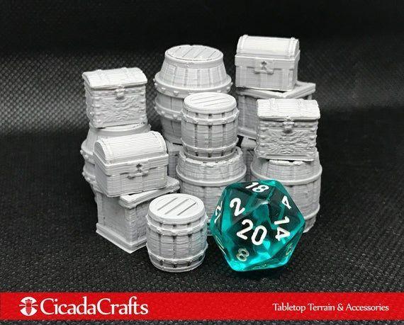 Loot Packs - Barrels, Crates, and Chests (Unpainted) - Tabletop Miniatures for D&D, Frostgrav... Loot Packs - Barrels, Crates, and Chests (Unpainted) - Tabletop Miniatures for D&D, Frostgrave, RPG',