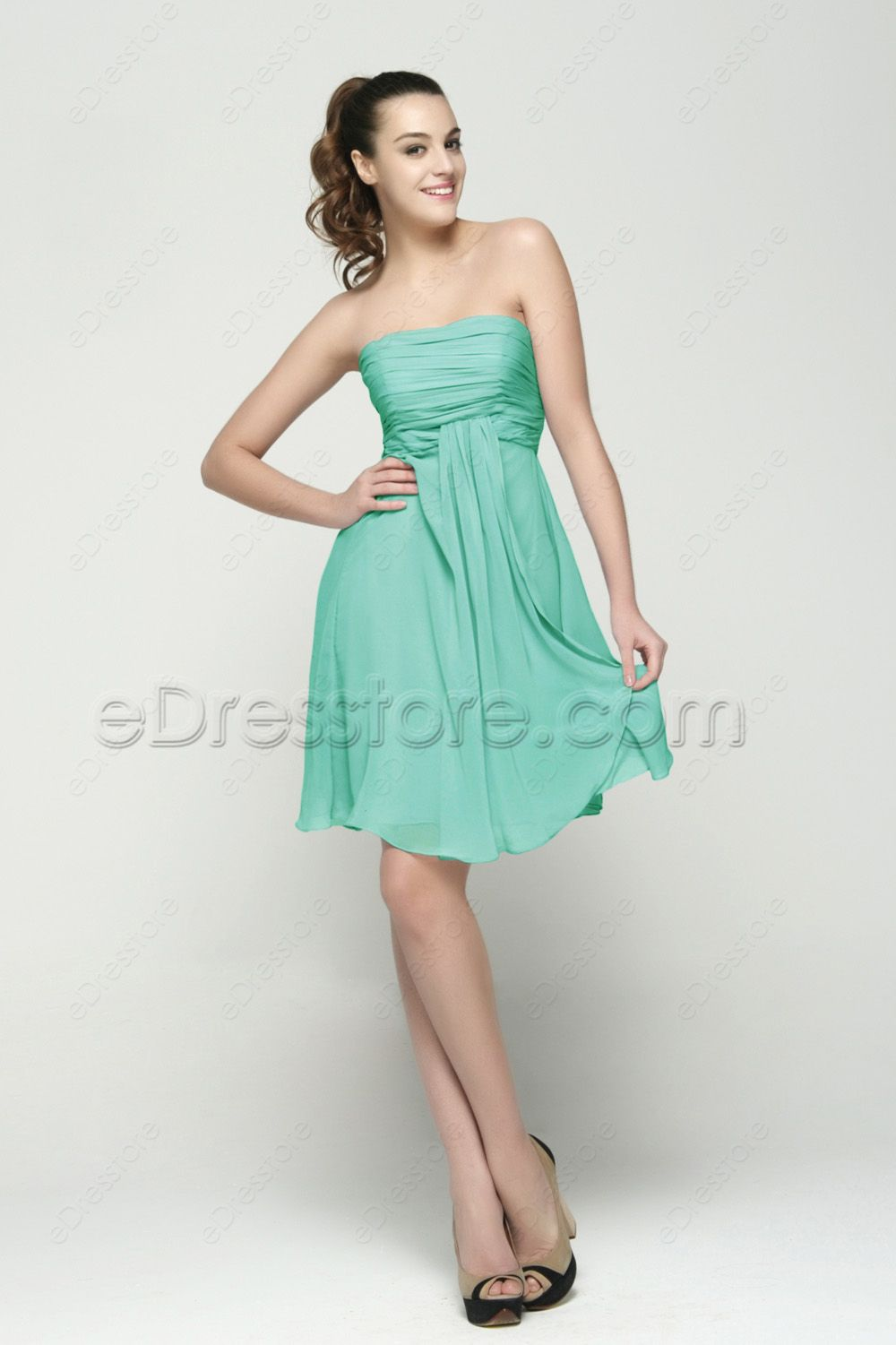 Strapless Mint Green Bridesmaid Dresses Knee Length | Mint green ...