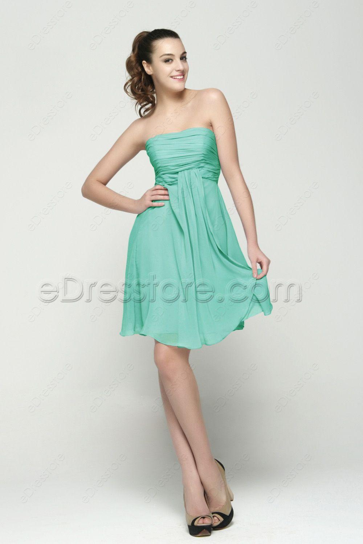 ab5ccc9b4c1 Mint green short bridesmaid dresses knee length strapless bridesmaid dress  empire waist maternity bridesmaid dresses