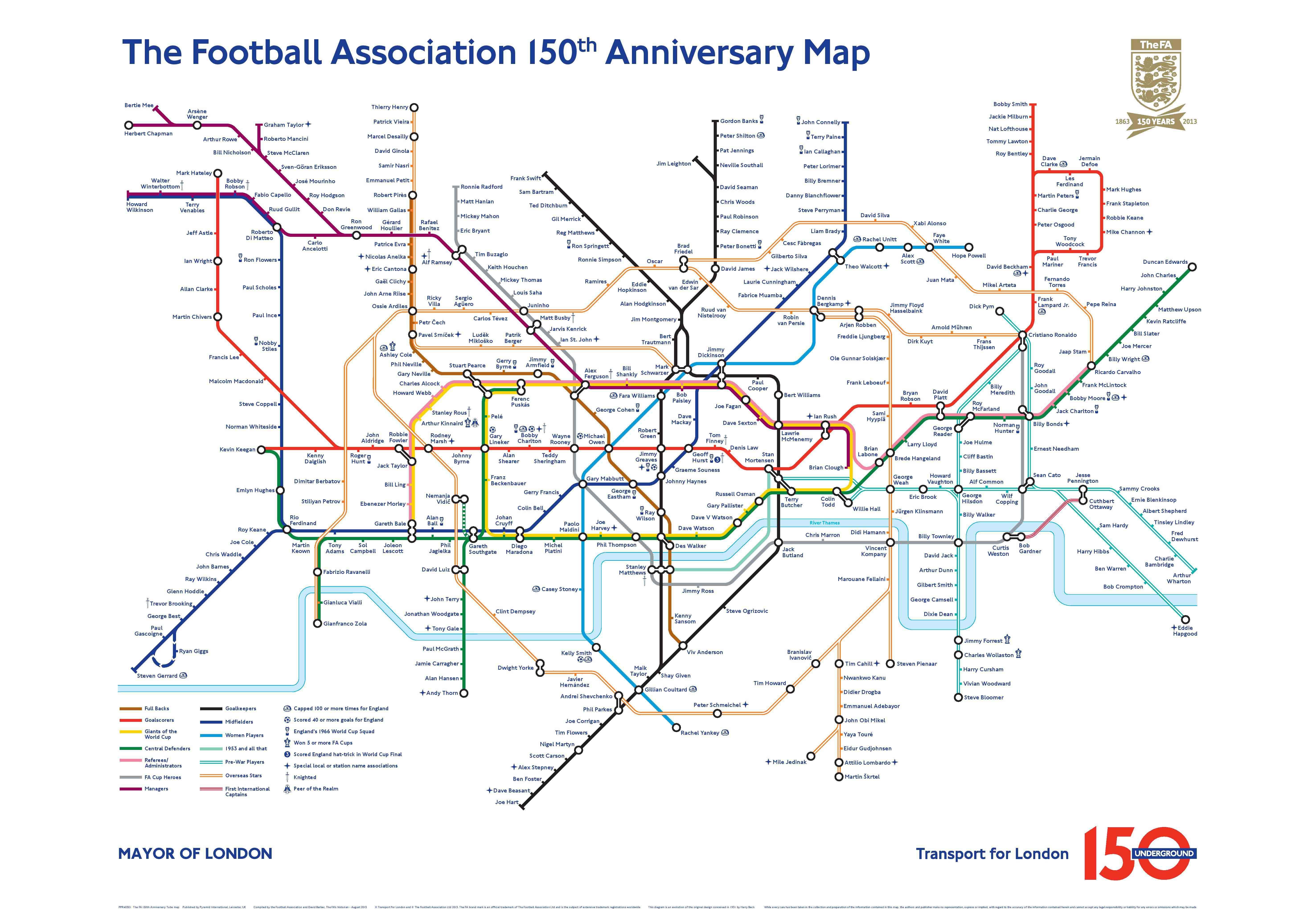 London Tube Map The Football Association 150th Anniversary Map – London Subway System Map