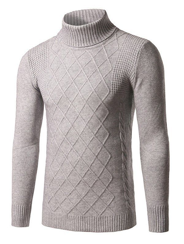 lovever Mens Classic Turtleneck Sweater Casual Twisted Knitted Pullover Sweaters