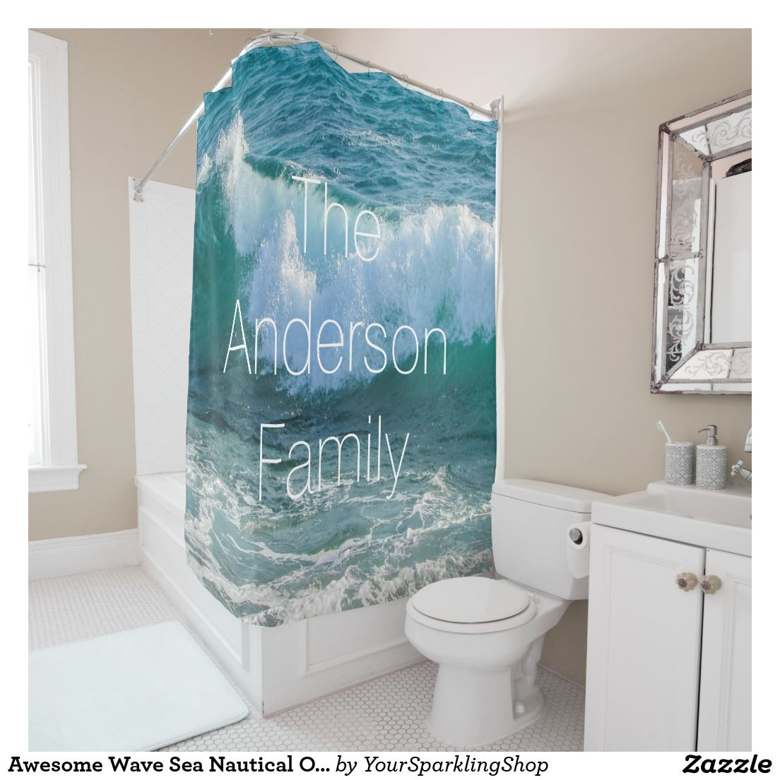 Awesome Wave Sea Nautical Ocean Add Family Name Shower Curtain