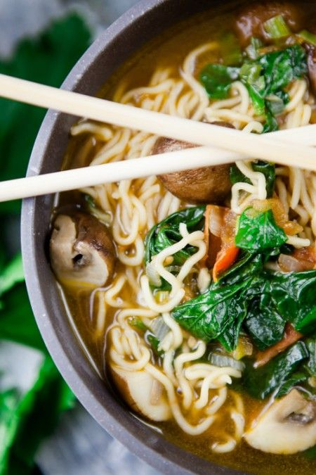 Photo of Homemade ramen with tomatoes, spinach and mushrooms – a childhood sweetheart