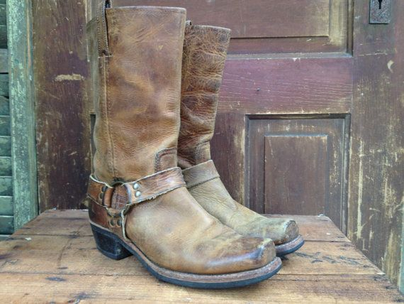 Vintage Distressed Brown Leather Biker Boots Harness Style Made