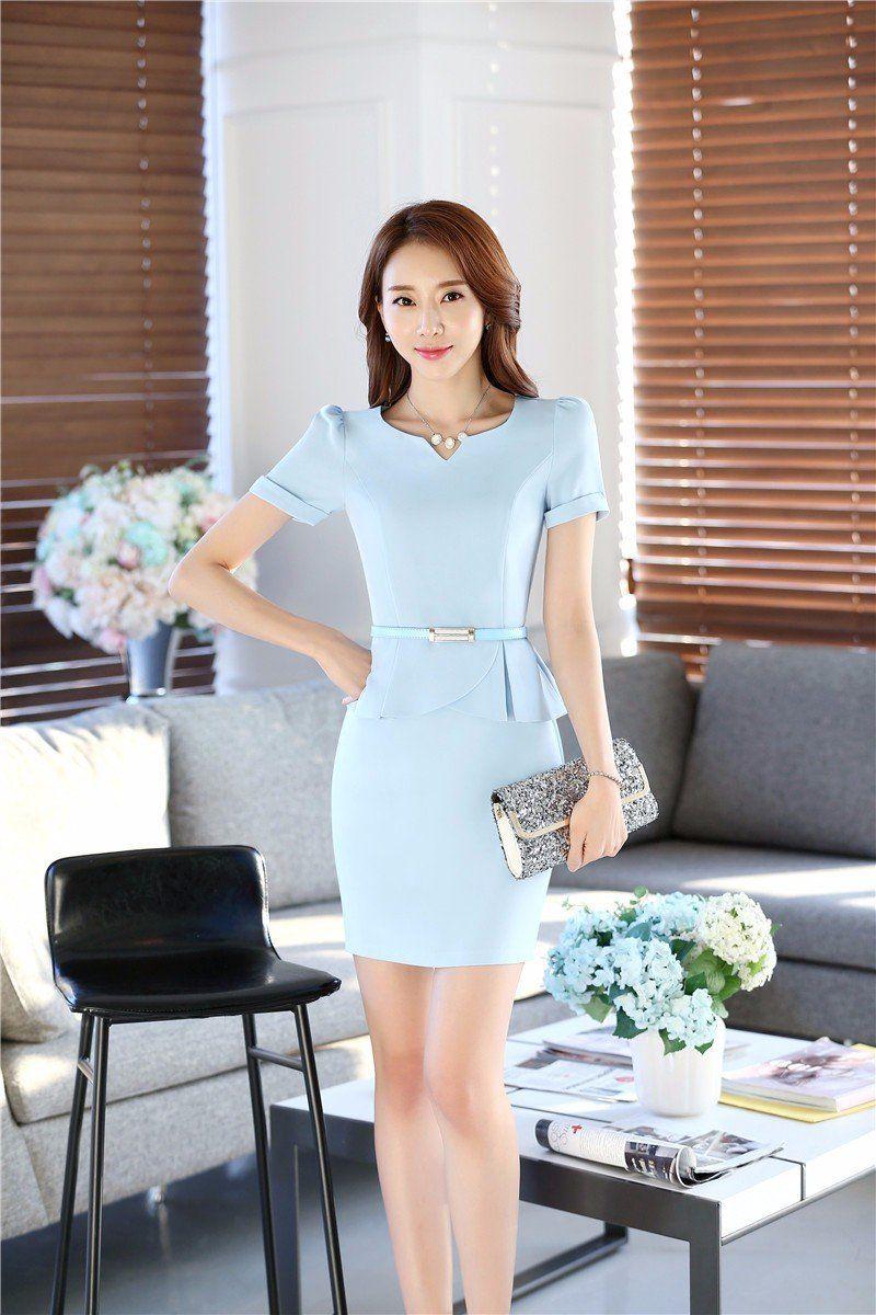 Women Work Formal Dresses Short Sleeve Ladies Dress With Belt Women Dresses Casual Summer Formal Dresses Short Short Sleeve Dresses [ 1200 x 800 Pixel ]