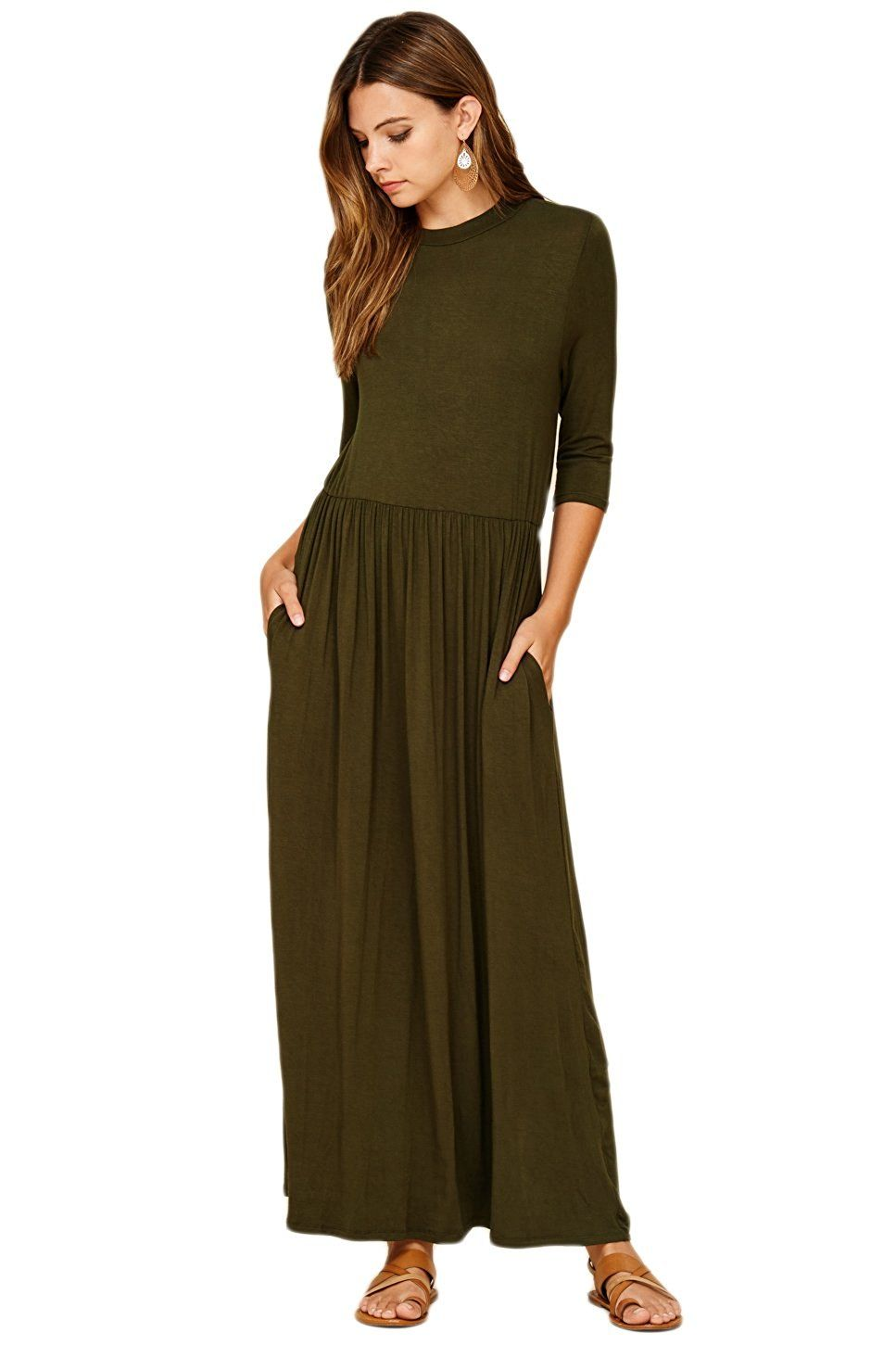 Annabelle womenus sleeve long maxi dresses with side pockets