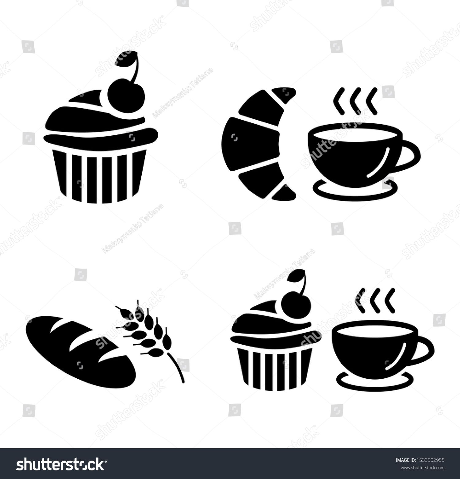 Set of icons cupcake, bread, muffin, coffee cup