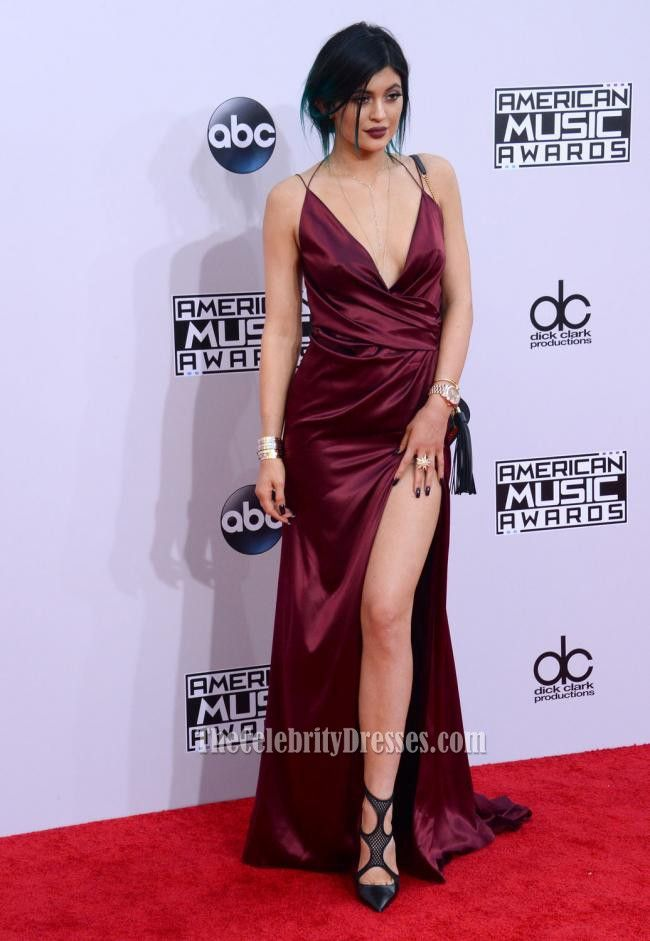 Kylie Jenner Burgundy Evening Dress American Music Awards 2014 Red Carpet 4ad191fb0c29