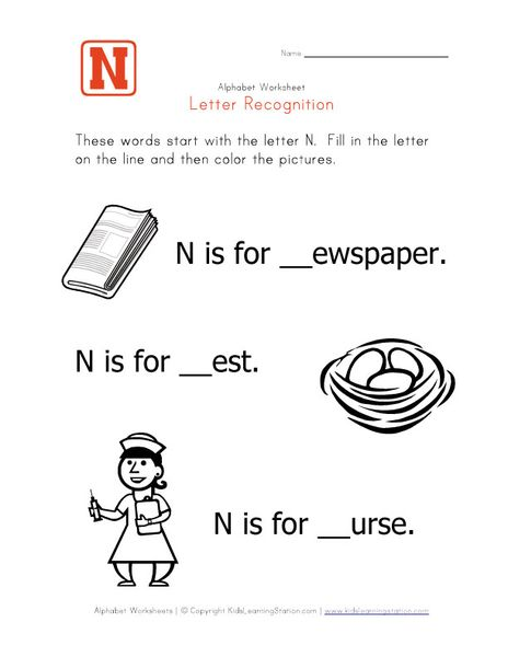 Words That Start With The Letter N  Print For Lily