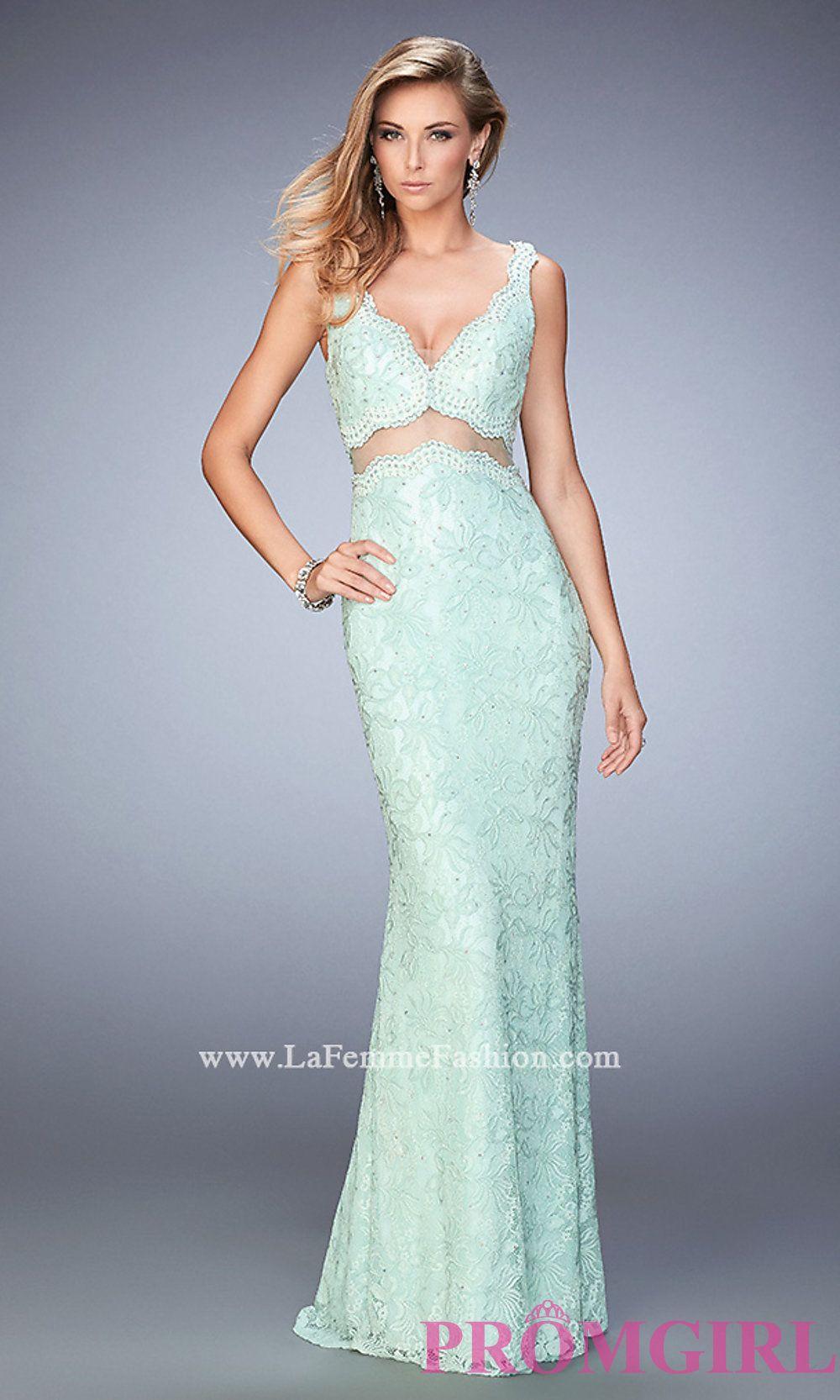 Midriff Cut Out Floor Length V-Neck Lace Dress by La Femme Style: LF ...