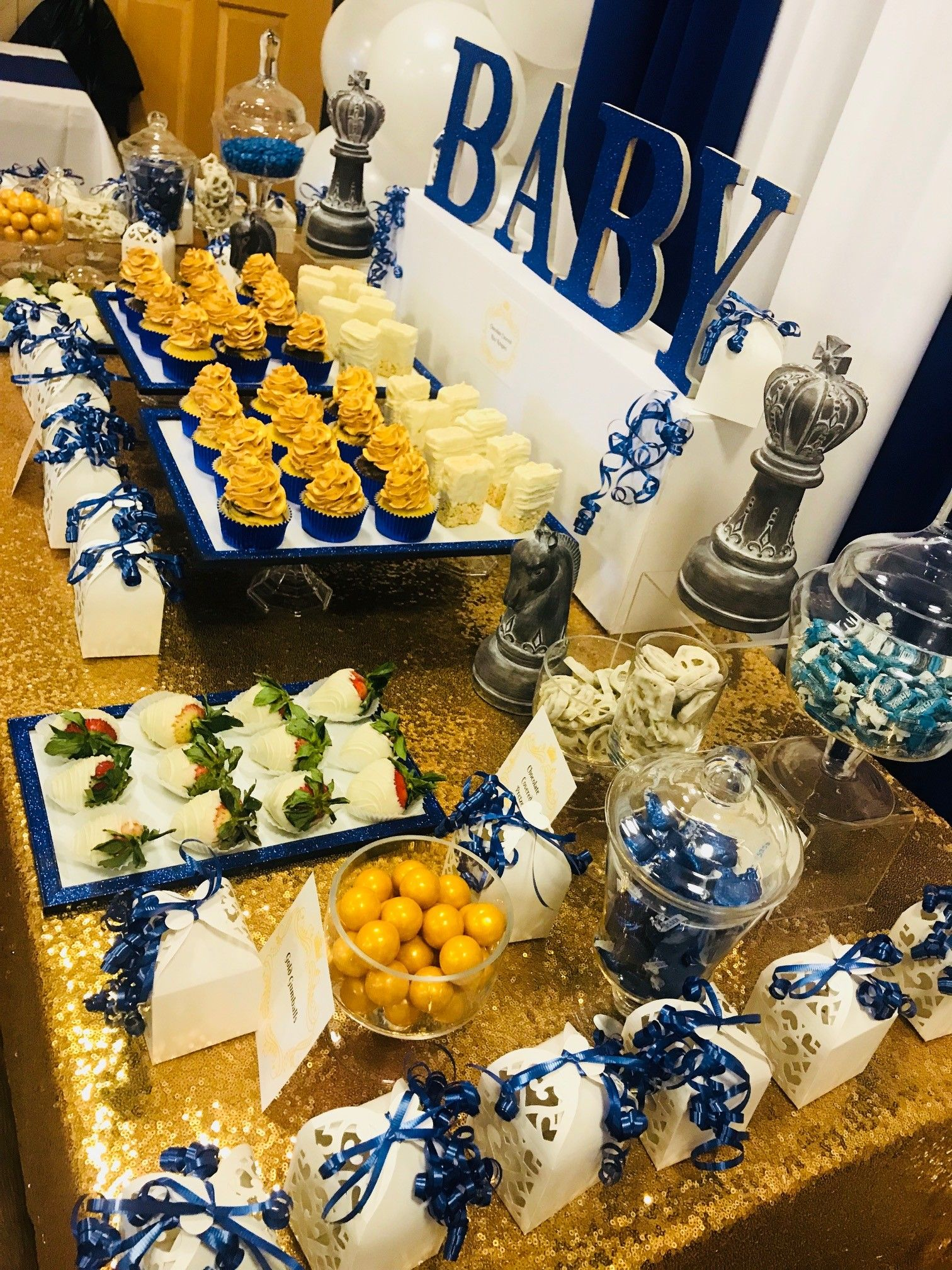 Royal Candy Table Navy Blue Gold White Gold Baby Shower Boy Gold Dessert Table White Dessert Tables