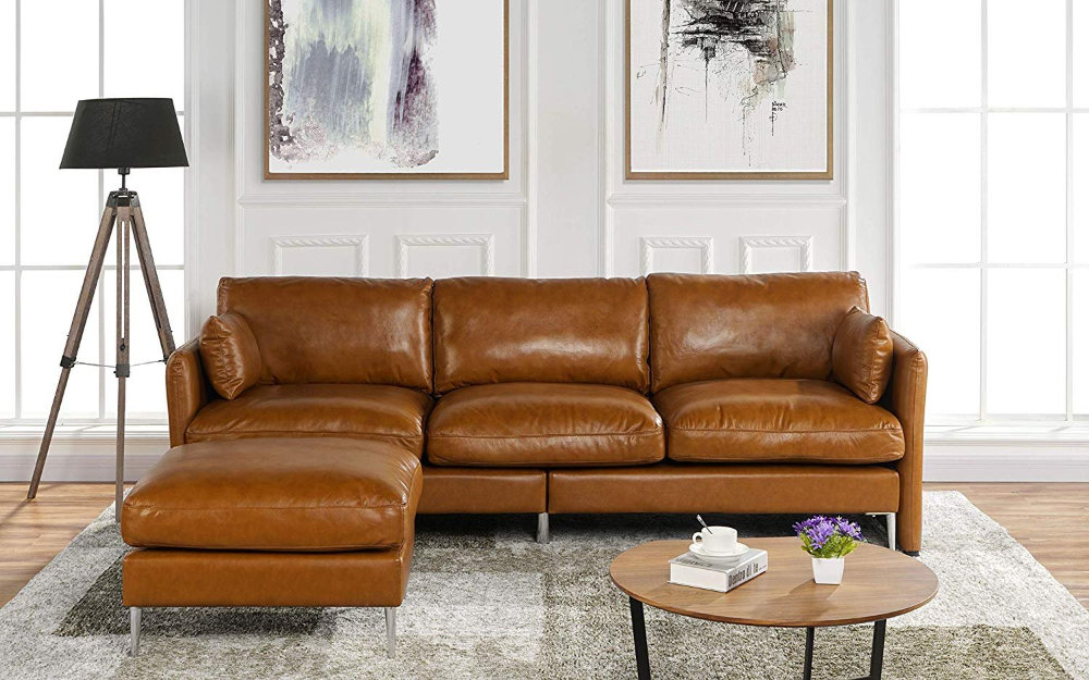 Pin On Scencack Brown leather l shaped couch