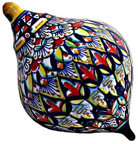 Hand Painted Ceramic Maiolica Ceramic Christmas Ornament - Deruta Riccco style - 11cm high x 8cm diameter (4.25 in x 3.25 in diameter)