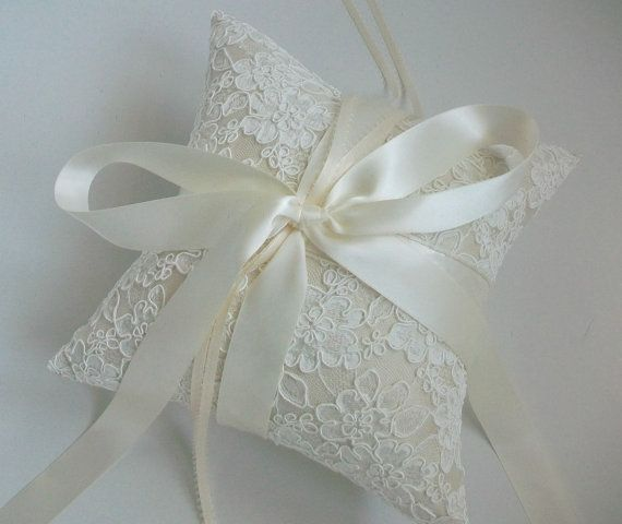 French Alencon Lace Ring Bearer Pillow In Ivory, Ivory