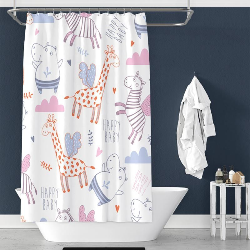 Cute Giraffe Hippo Pattern Pongee Shower Curtain Tychome Diy