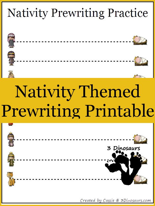 Free Nativity Theme Prewriting Printable