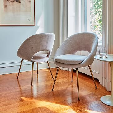Orb Upholstered Dining Chair Antique Brass Legs Westelm