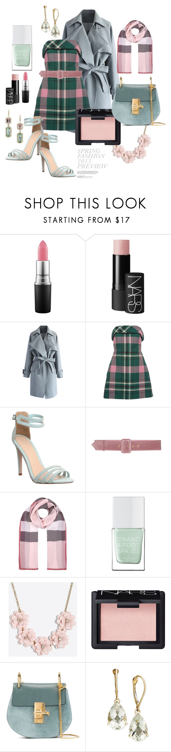 """Spring Prep"" by egchee ❤ liked on Polyvore featuring MAC Cosmetics, NARS Cosmetics, Chicwish, Philosophy di Lorenzo Serafini, Office, Elie Saab, Burberry, The Hand & Foot Spa, J.Crew and Chloé"