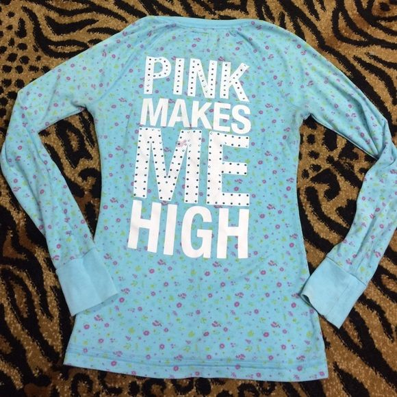 blue bling floral thermal knit top Victoria's Secret blue floral print knit thermal button up top with white font and blue gems. Good condition!! PINK Victoria's Secret Tops Tees - Long Sleeve