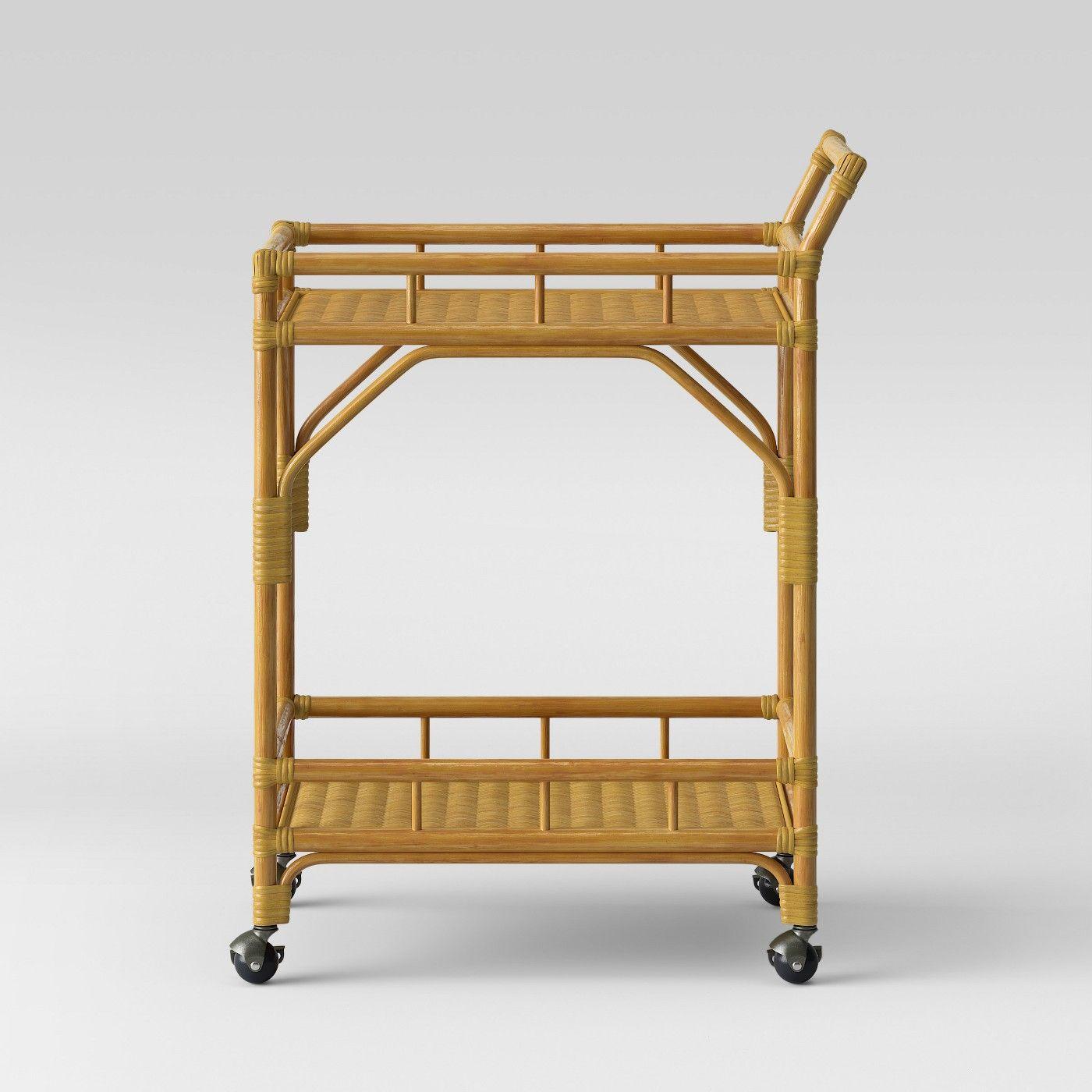 Cassia Rattan Bar Cart Opalhouse Beige Boho Living