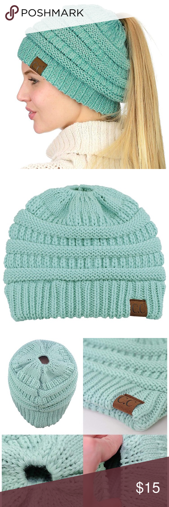 bcd4a8a11e048 NWOT C.C Messy Bun Beanie Tail Hat in Mint So cute for messy buns or  ponytails