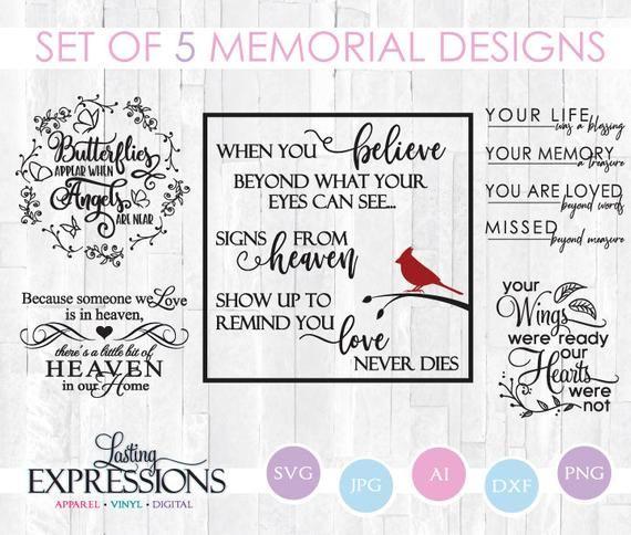SVG Bundle Memorial Quotes Set of 5 Memorial Sayings SVG