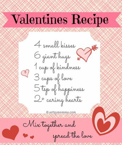 Sweet Recipe For Valentine S Day Poem Free Printable